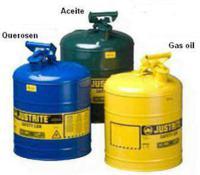 Bidones de chapa metalicos BIDONES PARA INFLAMABLES JUSTRITE 10011 METALICOS TIPO I - CAP. 0,5Lts - COLOR AMARILLO PARA GAS OIL